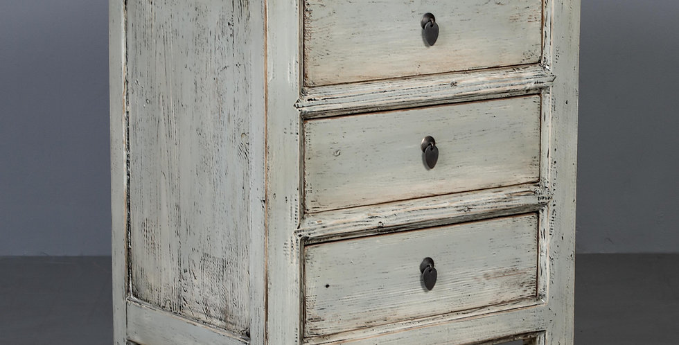 Distressed Gray / Green Lacquered Nightstand