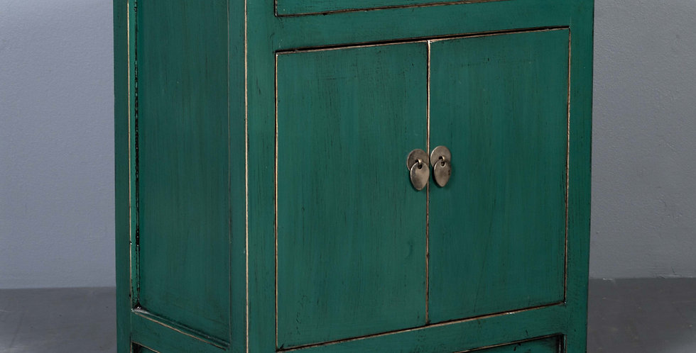 Lacquered Green Nightstand / Cabinet