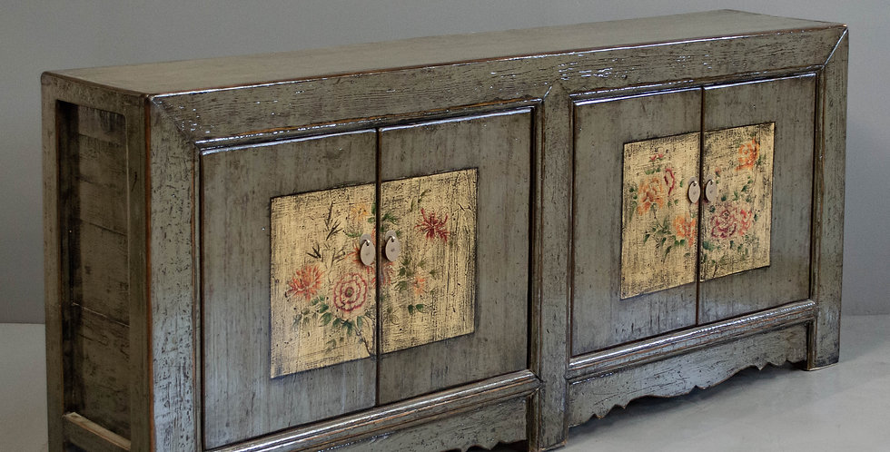 Large Gray Painted Chinese Sideboard Cabinet