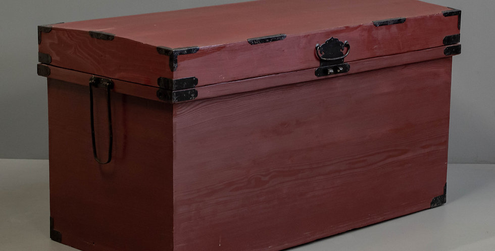 Large Red Painted Japanese Trunk/Chest