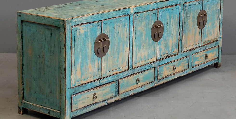 Low, Blue Painted Chinese Sideboard/Cabinet