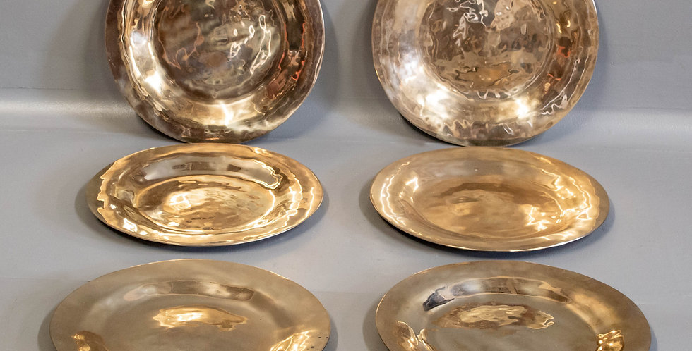 Set of Six Hammered Brass Plates