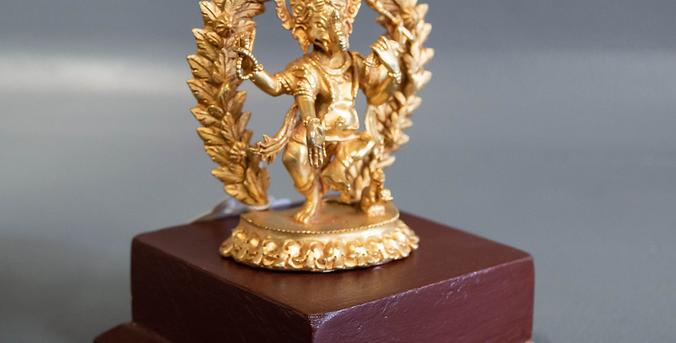 Small Bronze Dancing Ganesh on a stand