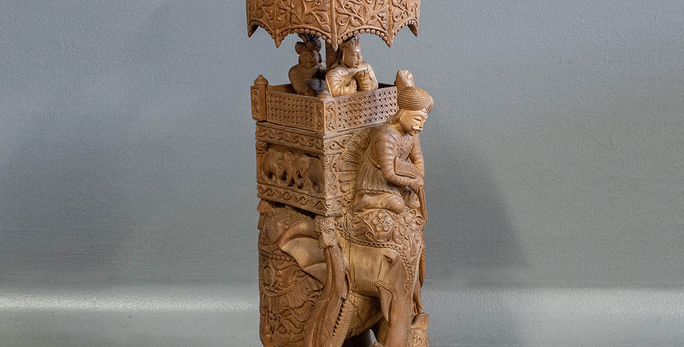 Carved Wood Elephant Statue From India