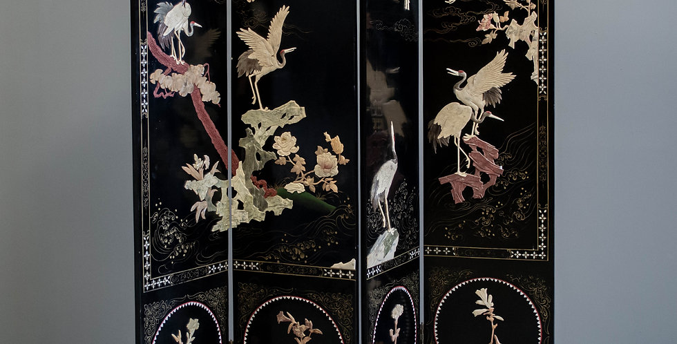Four Panel Black Lacquered Folding Screen
