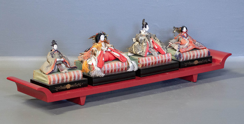 Set of 4 Hina Dolls on Long Lacquer Stand