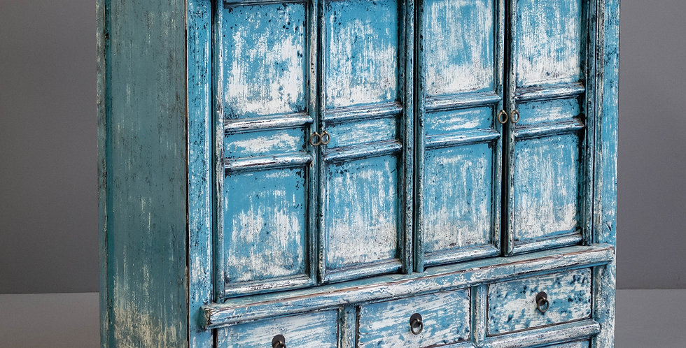 Blue Painted Chinese Cabinet