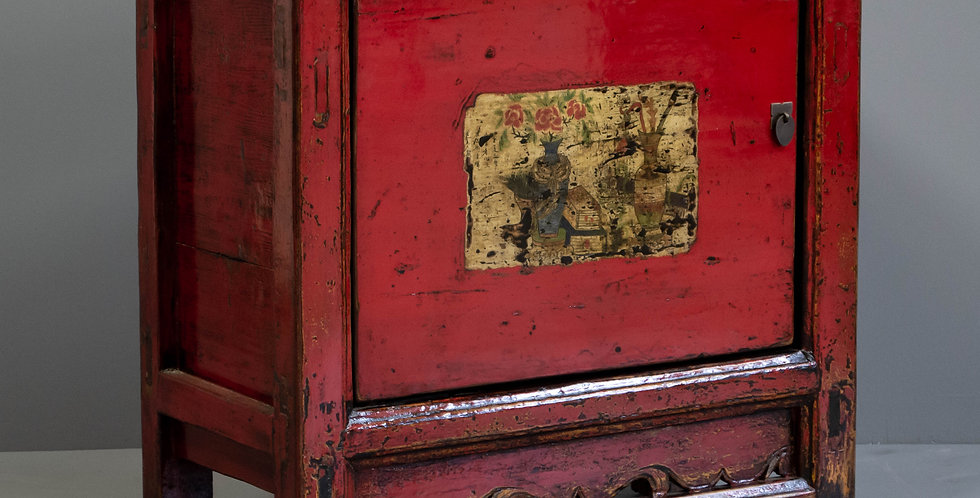 Small Antique Red Painted Chinese Cabinet