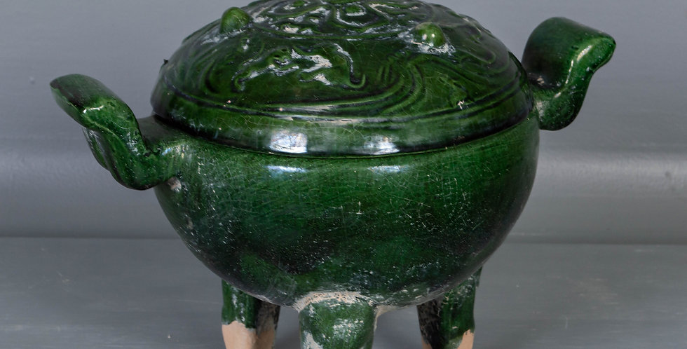 Green Glazed Terracotta Incense Burner