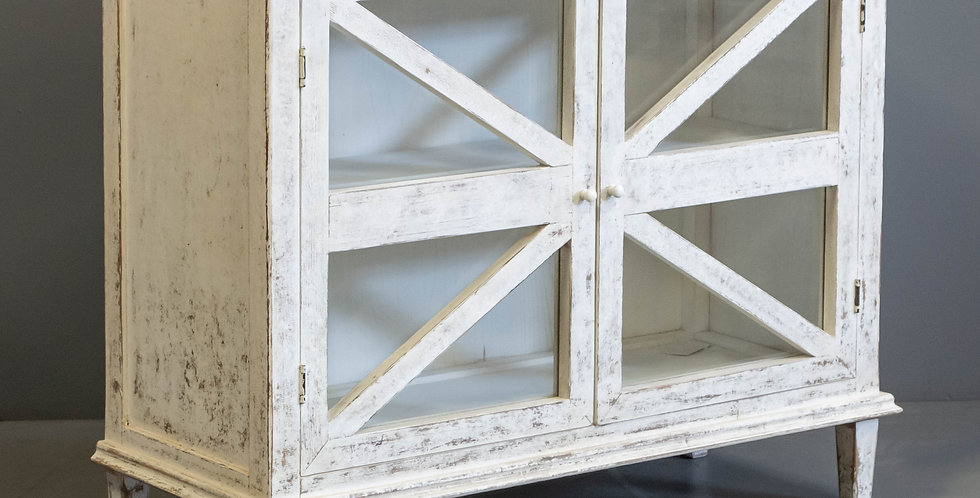 Glass Front White Painted Chinese Cabinet