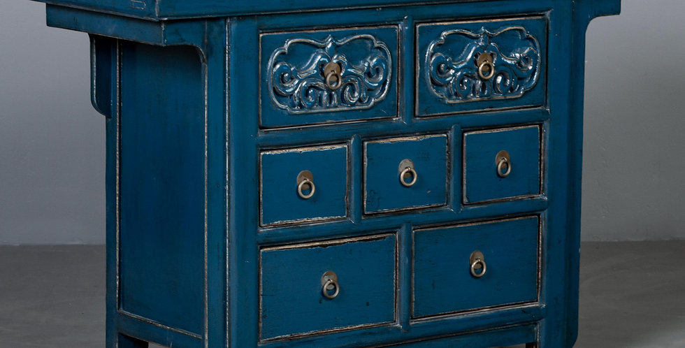 Chinese Blue Painted & Lacquered Cabinet