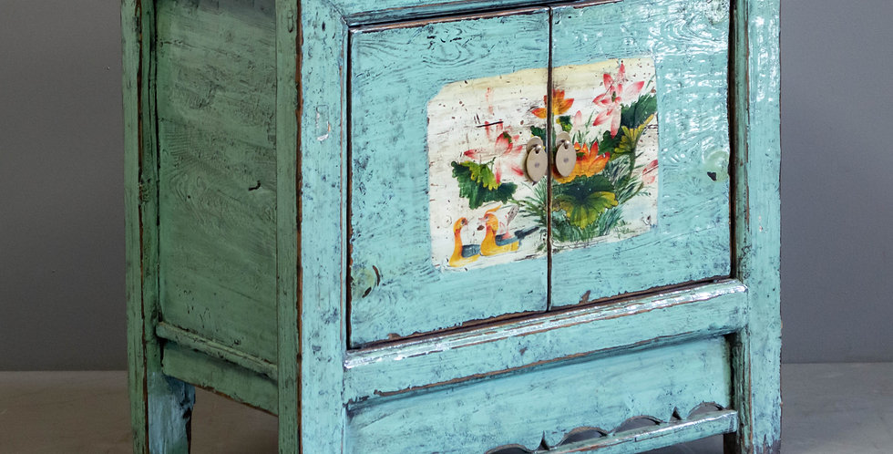 Chinese Turquoise Blue Painted Cabinet