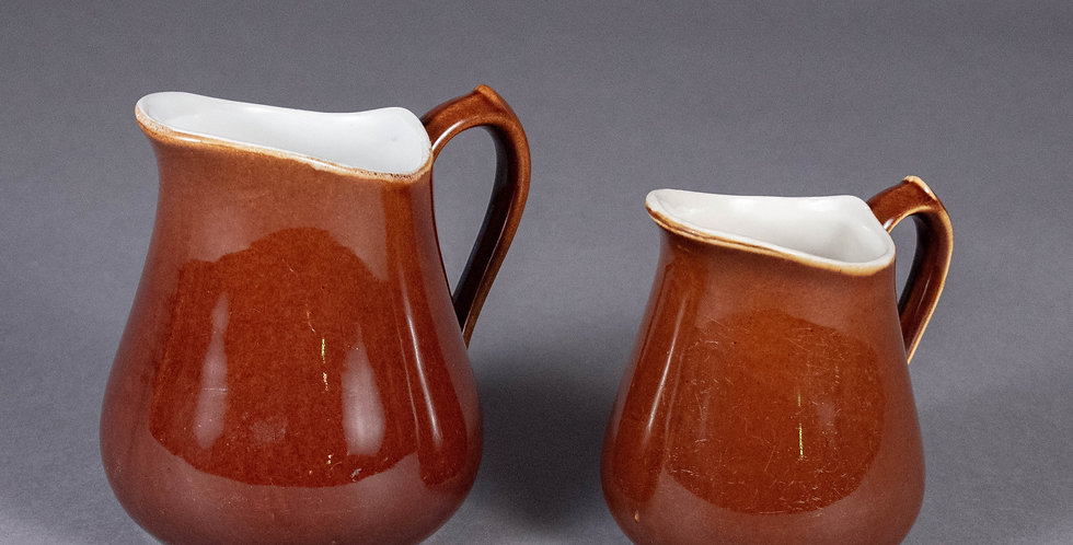 Vintage French Brown & White Stamped Pitcher Set