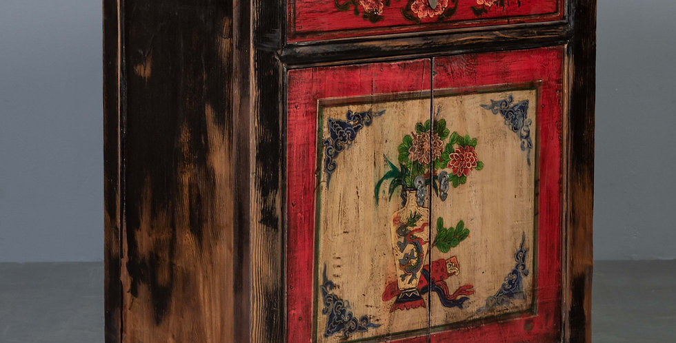 Painted Cabinet, Red / Natural