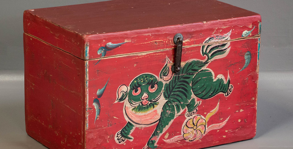 Vintage Painted Chinese Trunk