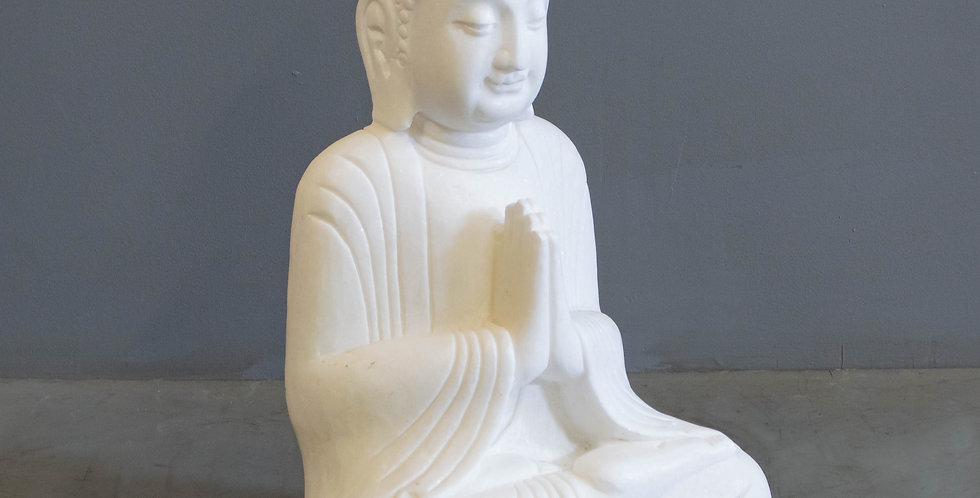 Carved Marble Sitting Buddha
