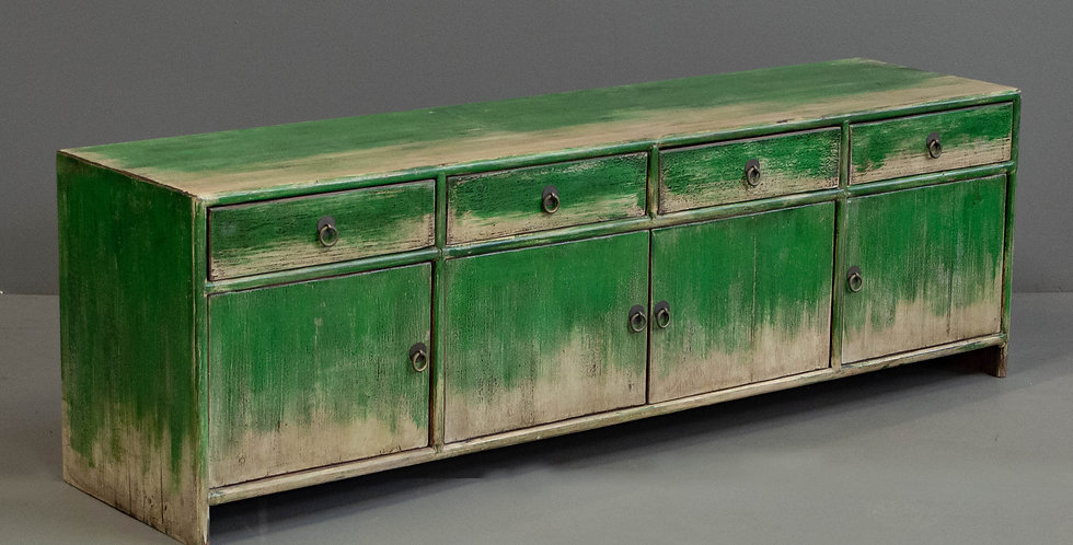 Low Green Painted Chinese Sideboard Cabinet