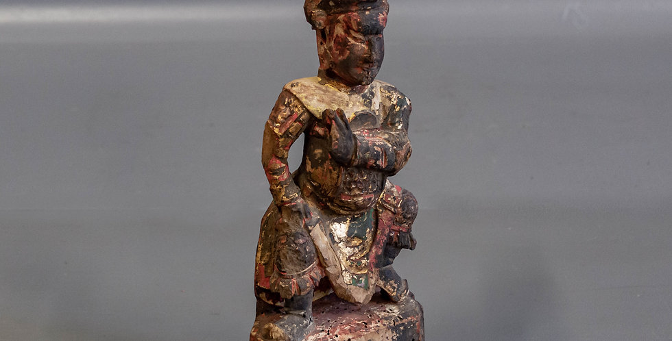 Antique Carved & Painted Wood Empress Figure