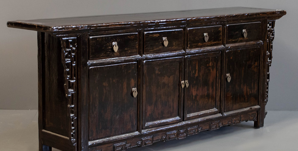 Antique Black Painted Chinese Sideboard/Cabinet