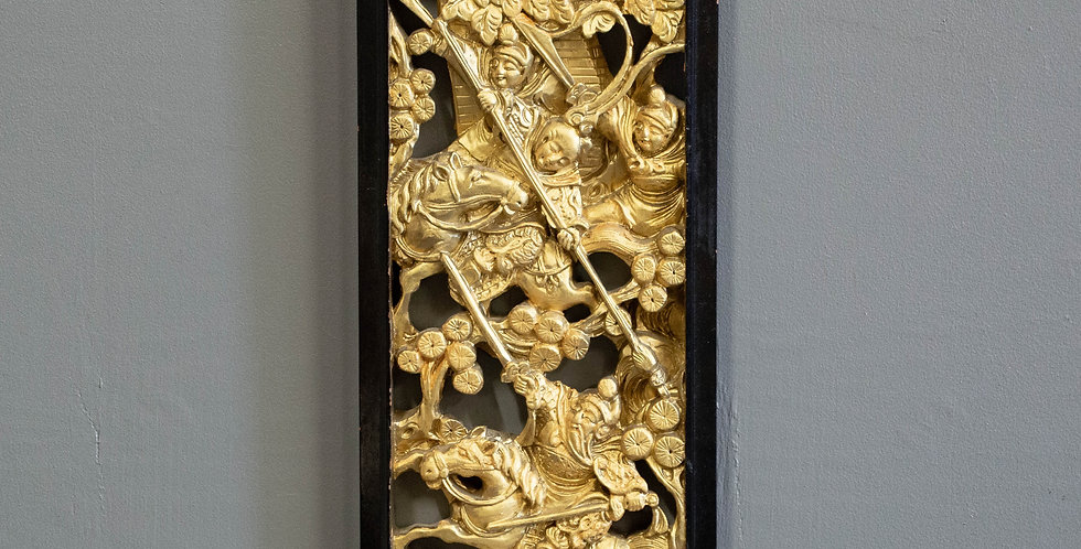 Vintage Hand Carved & Gold Painted Wall Carving