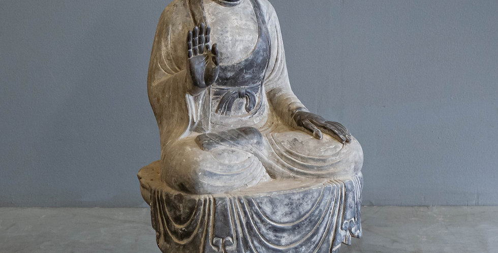 Carved Sitting Stone Buddha