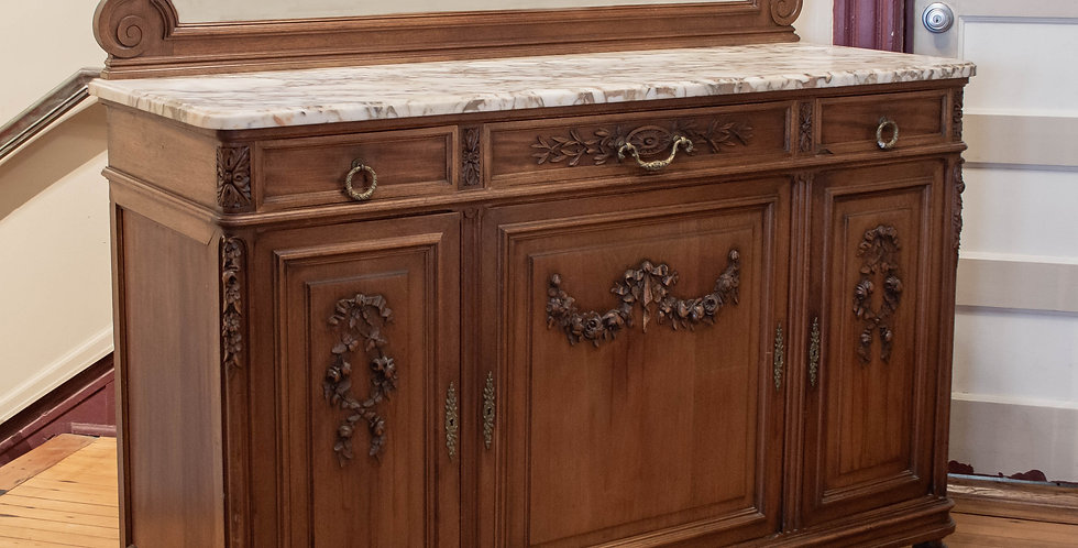 Antique French Marble Top Sideboard