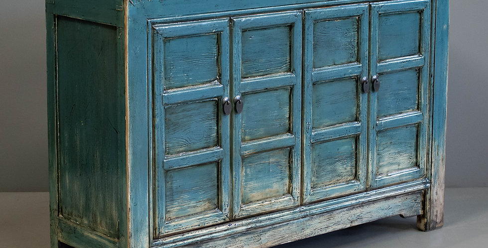 Four Door Teal Painted Chinese Cabinet
