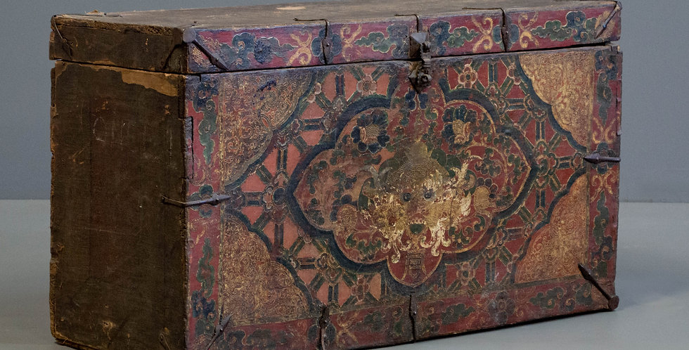 Antique Painted Tibetan Trunk Garment Chest