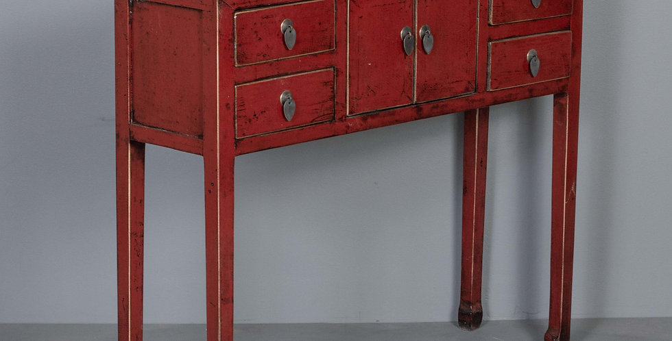 Red Chinese Entryway Table / Cabinet