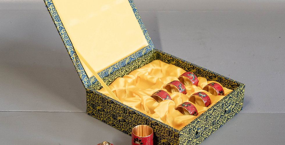 Boxed Set of Cloisonne Napkin Rings and Accessories