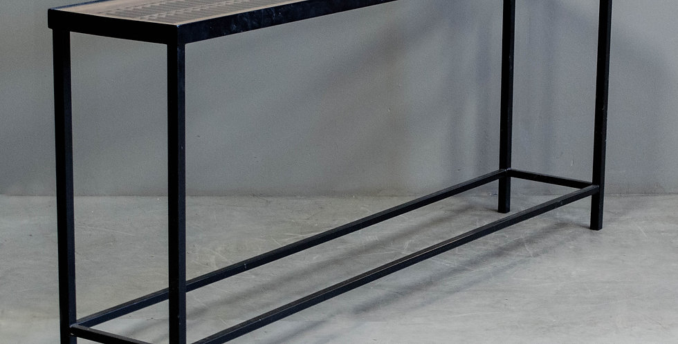 Black Steel & Wood Console Table