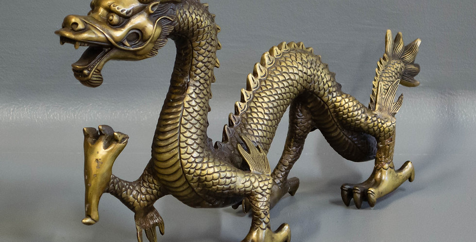 Large Chinese Cast Brass Dragon