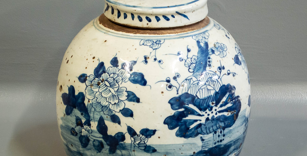 Chinese Blue & White Lidded Ginger Jar