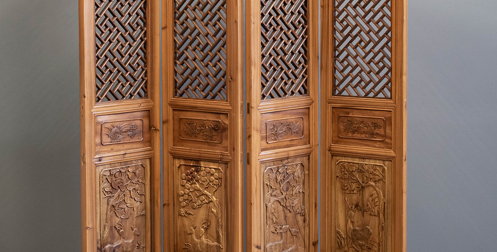 Carved Four Panel Folding Screen