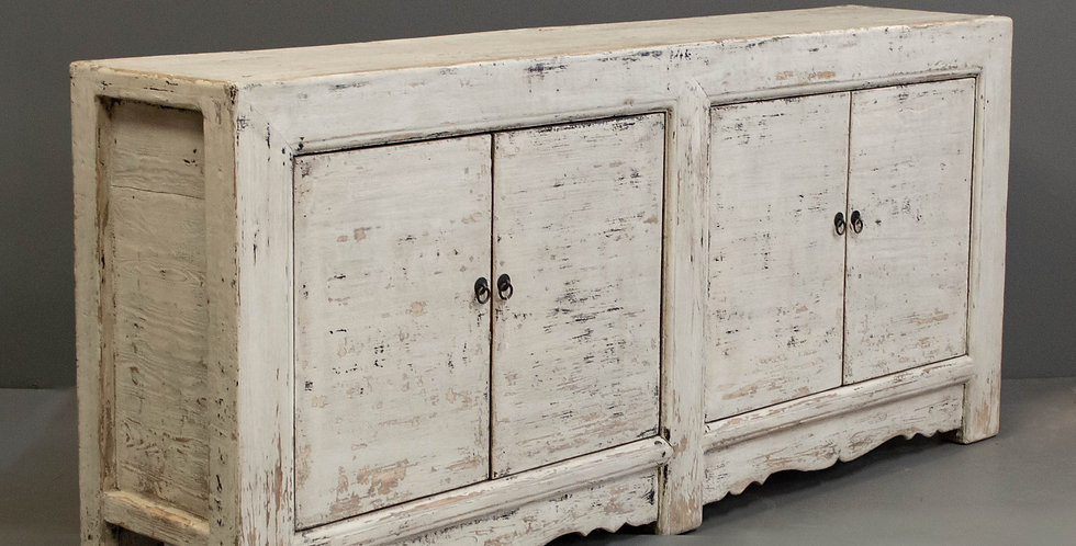 Large 4Door Chinese White Painted Sideboard/Cabinet