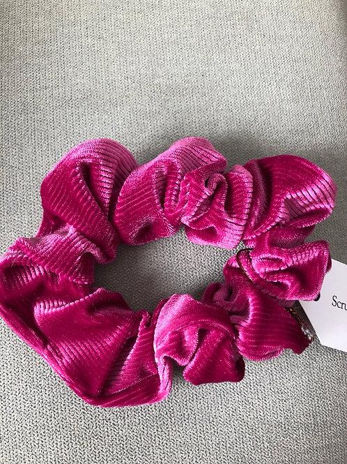 Hot pink crinkle velvet