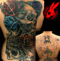 Skull Roses Back Piece Cover Up Tattoo b