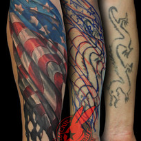 American Flag Waving Tattered Burned Age