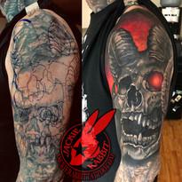 Demon Skull Cover Up Tattoo Design Horns