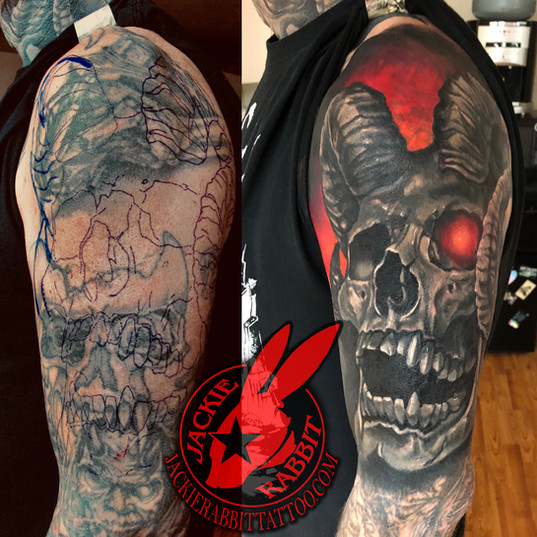 Demon Skull Cover Up Tattoo Design Horns
