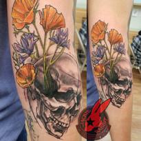 Skull Flower California Poppy Sketch Tat