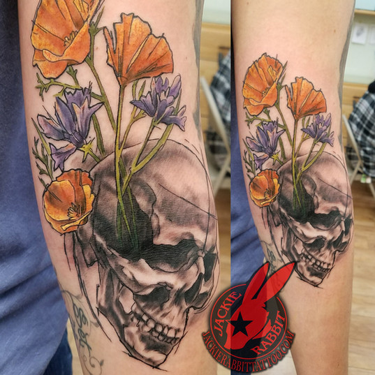 Skull Flower California Poppy Sketch Tat
