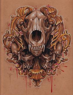 10x10 colored pencil skulls