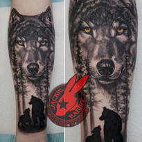 Wolf and cub Portrait Realistic Trees Fo