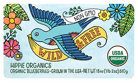 hippie organics, hippie, organic, blueberries, blackberries, asparagus, non gmo, art, watercolor, coloring page, nature, recycle, produce, planet, earth, organic produce, waves, water, peace, label, groovy, fun, colorful, non-gmo, wild, free,