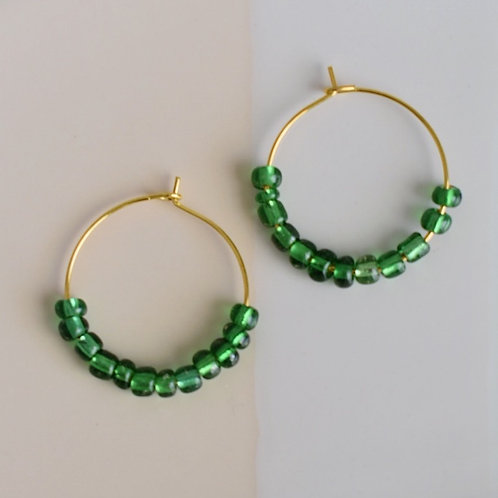 Green Beaded Hoops