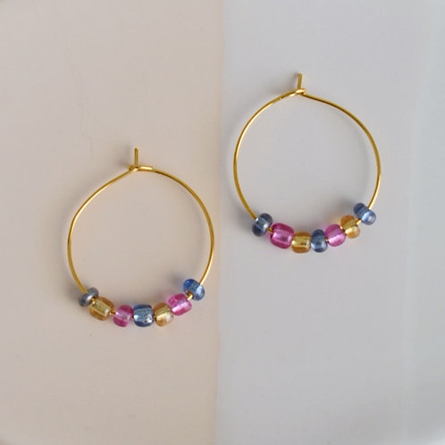 Cotton Candy Beaded Hoops