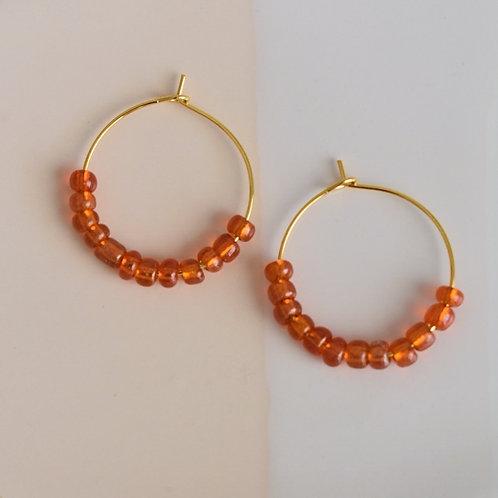 Orange Beaded Hoops