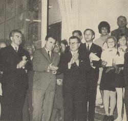 Zahájení mezinárodní výstavy Dítě a svět 1964, vlevo Jaromír Uždil