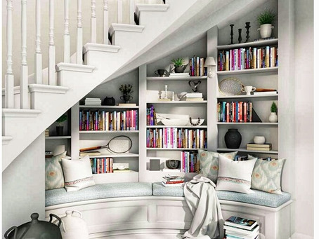 Under Staircase Reading Nook with Curved Bench